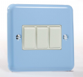 Varilight Pastel 3 Gang 10A 1 or 2 way Rocker Light Switch Duck Egg Blue XY3W.DB